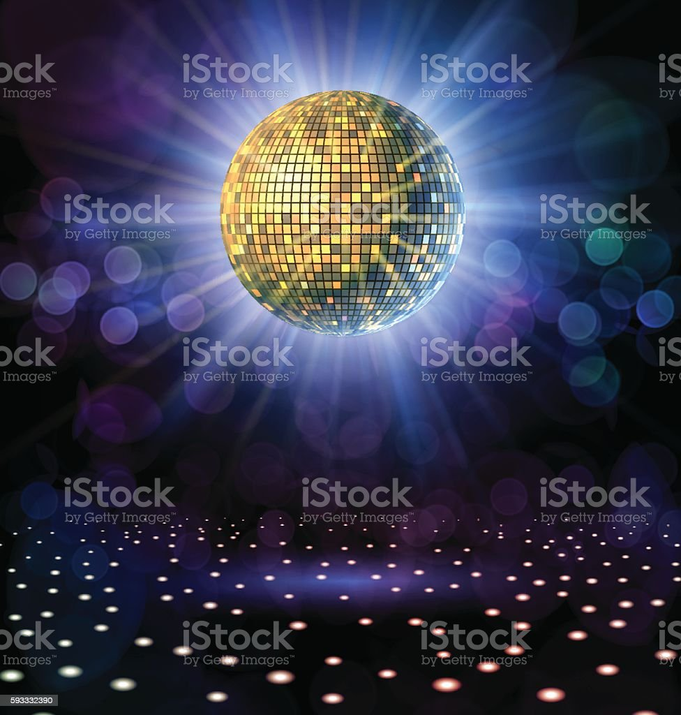 Disco Ball with Rays vector art illustration