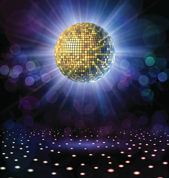 Disco Ball with Rays Disco ball with rays in a nightclub. clubbing stock illustrations