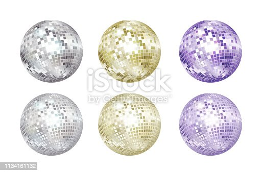 istock Disco balls collection. Silver, gold and purple colors. 1134161132