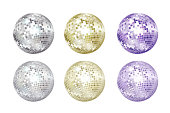 Disco balls collection. Silver, gold and purple colors.