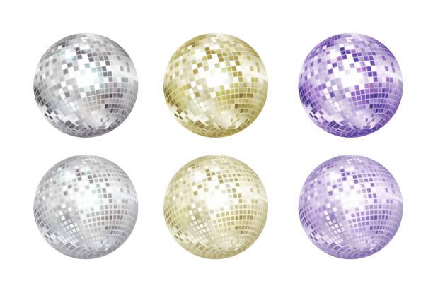 bildbanksillustrationer, clip art samt tecknat material och ikoner med disco bollar samling. silver, guld och lila färger. - dansa disco
