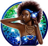 vector illustration of beautiful black woman with headphones. 10 EPS file with transparency effects and overlapping colors