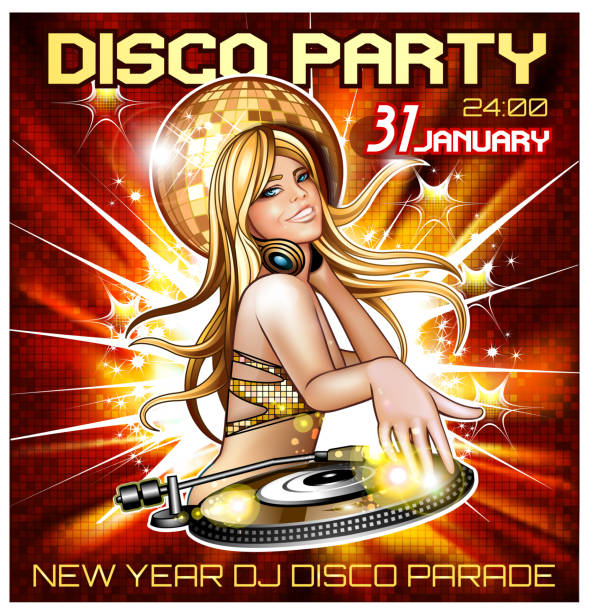 Disco dance floor party poster vector art illustration