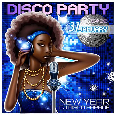 Disco dance floor party poster