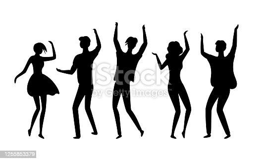 istock Disco Dancers Silhouettes of People in Nightclub 1255853379