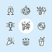 """Disco Dancing and Party / 9 Outline style Pixel Perfect icons / Set #34  First row of outline icons contains:  Cheers! (champagne glasses), Disco ball, Party people;  Second row contains:  Microphone (karaoke), Dancing icon, Disco Party icon;  Third row contains: Party Popper (Confetti icon), Party label, Drinks.   Pixel Perfect Principle - all the icons are designed in 64x64px grid, outline stroke 2px. Complete """"Outline 3x3 Blue"""" collection - https://www.istockphoto.com/collaboration/boards/eKCvfOhp3E-XZOE0AIzWqg"""