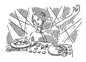 Hand-drawn vector drawing of a Disco DJ on a Record Turntable. Black-and-White sketch on a transparent background (.eps-file). Included files are EPS (v10) and Hi-Res JPG.
