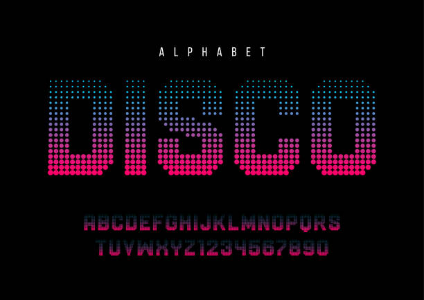Disco dotted halftoned display font design, alphabet, typeface, Disco dotted halftoned display font design, alphabet, typeface, letters and numbers, typography. Swatch color control. disco dancing stock illustrations