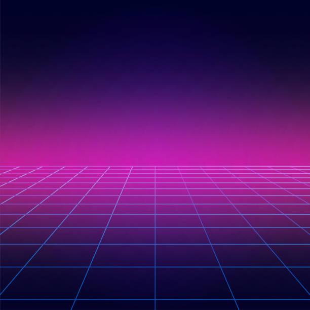 bildbanksillustrationer, clip art samt tecknat material och ikoner med disco golvet, vintage dans bakgrund med neon belysning, futuristisk stil ljuseffekt perspektiv. party affisch med stroboskopeffekt laser rutnät. tre dimensionell banner. - disco lights