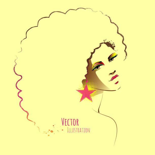 Disco girl with afro hairstyle. vector art illustration