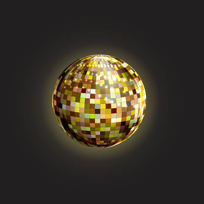 Disco glowing ball. Eighties style party. Decorative element. Vector object.