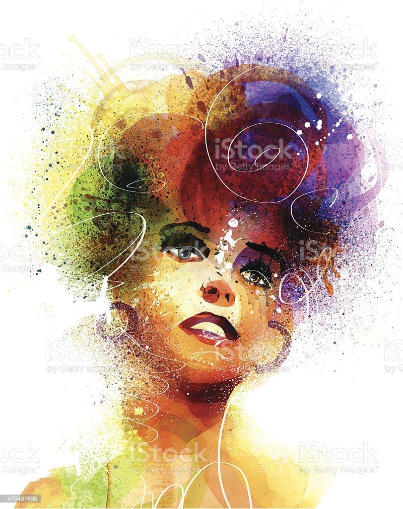 Disco Lady vector art illustration