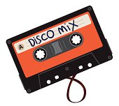 Disco mix cassette illustration.