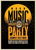 Disco Music party poster template and Audio speaker and night moon