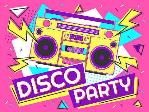 Disco party banner. Retro music poster, 90s radio and tape cassette player funky colorful design vector background illustration