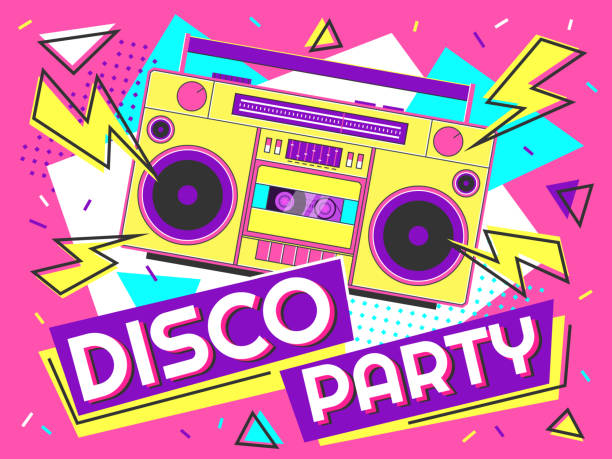 Disco party banner. Retro music poster, 90s radio and tape cassette player funky colorful design vector background illustration Disco party banner. Retro music poster, 90s radio and tape cassette player funky colorful design. Memphis music parties, 80s advertising audio poster vector background illustration funky stock illustrations