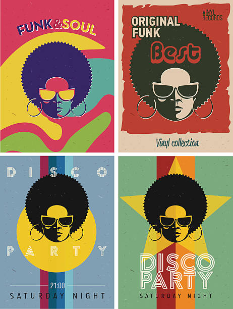 Disco party event flyers set. Collection of the vintage posters. Disco party event flyers set. Collection of the creative vintage posters. Vector retro style template. Black woman in sunglasses. funky stock illustrations