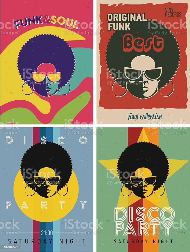 Disco party event flyers set. Collection of the vintage posters. vector art illustration