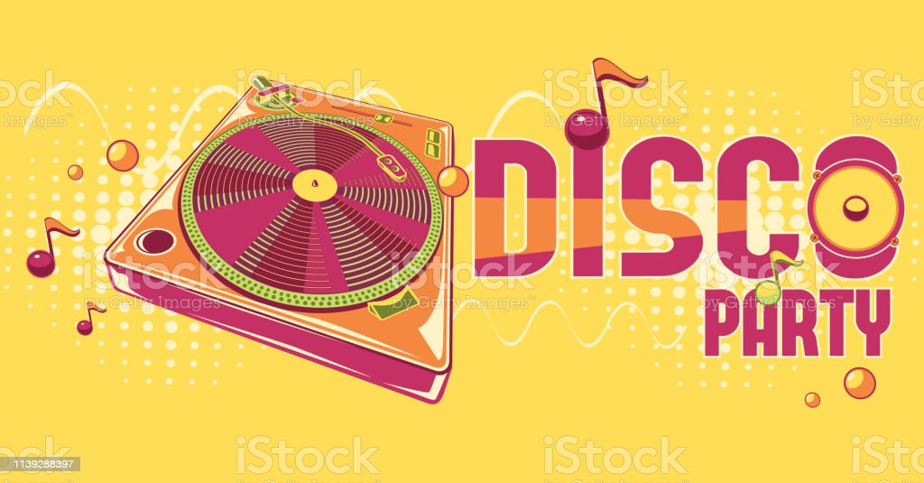 Disco Party Funky Colorful Music Design Stock Vector Art