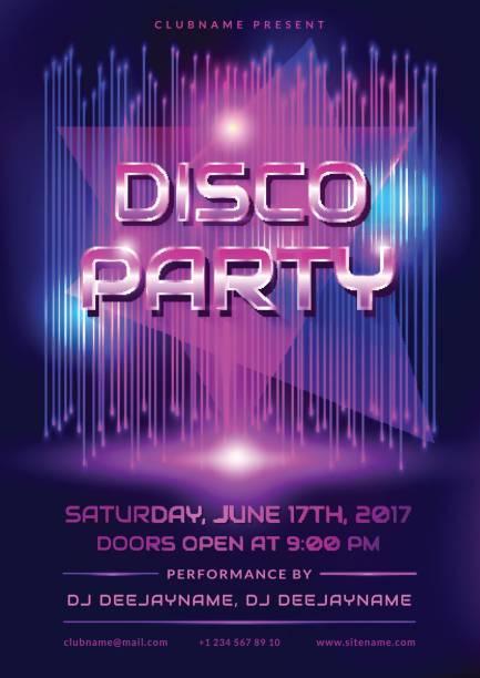 Disco party invitation. vector art illustration