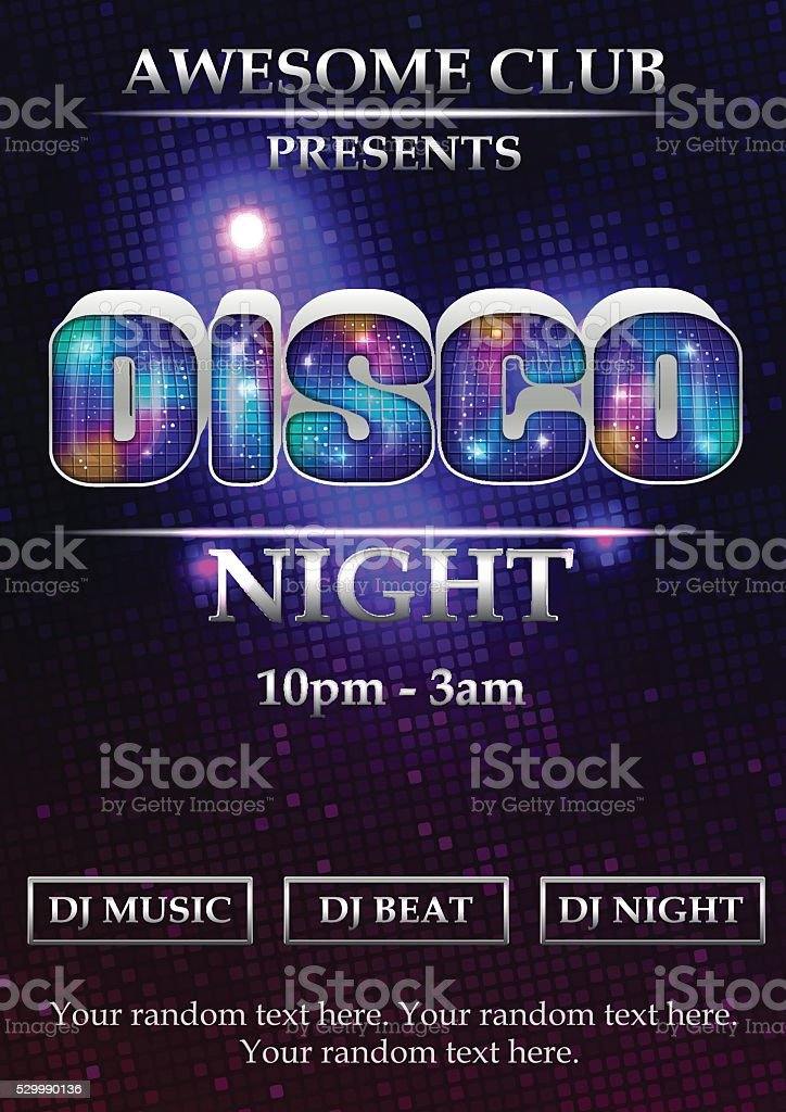 Disco party poster template vector art illustration
