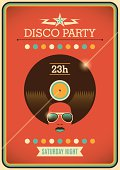 Disco party poster with retro design elements.