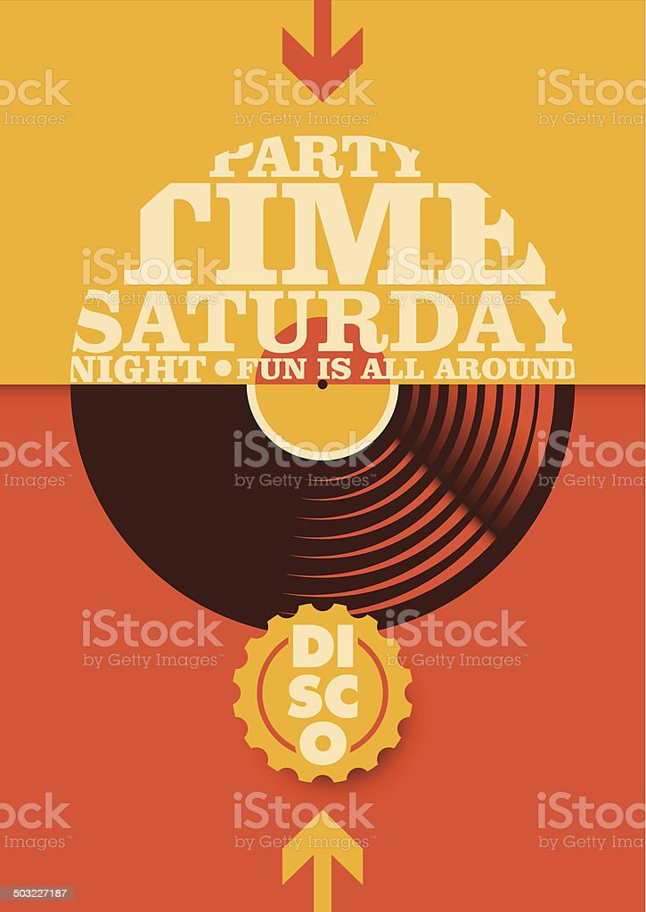 Disco party poster with typography. vector art illustration