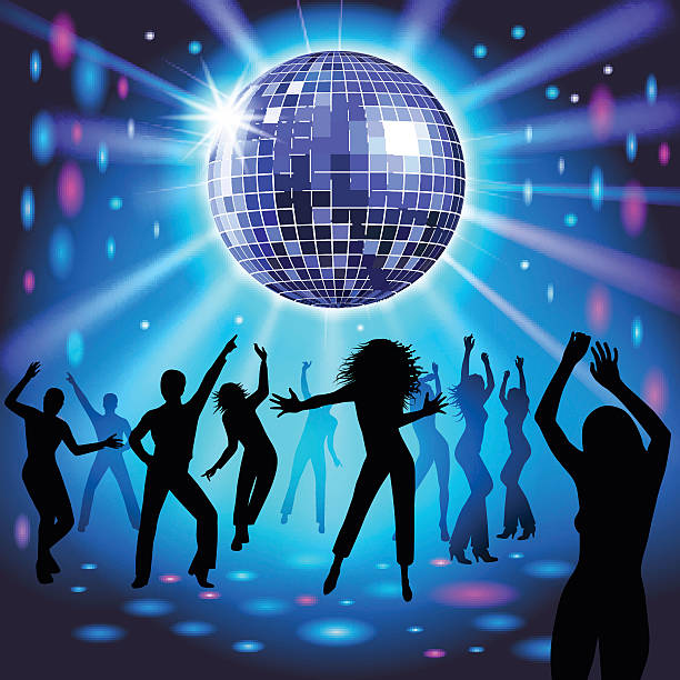 Disco party Silhouettes of a party crowd on a glowing lights background. Vector illustration disco dancing stock illustrations
