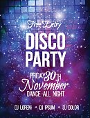 Disco party vector poster template with sparkles and glitter , glow light effect.