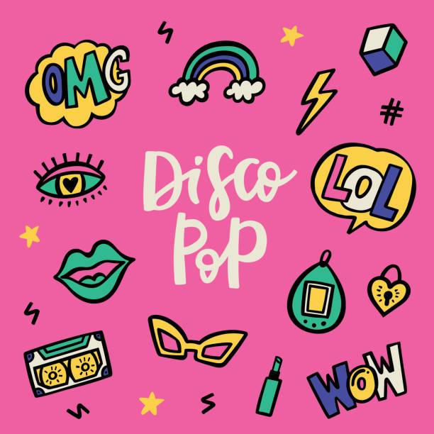 ilustrações de stock, clip art, desenhos animados e ícones de disco pop 90's stile doodle sticker set - músico popular