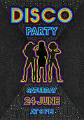 disco poster in a retro 80s style