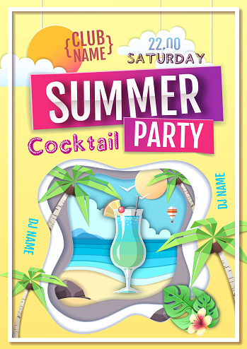 Disco summer cocktail party poster. Paper cut out art style design