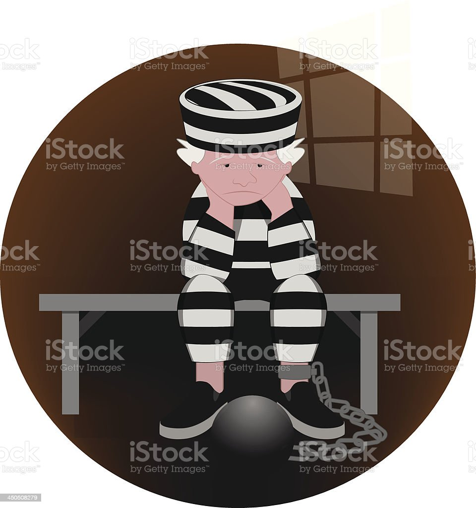 Disconsolately Prisoner royalty-free disconsolately prisoner stock vector art & more images of arrest