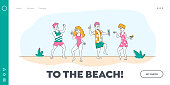 istock Discotheque at Tropical Resort Landing Page Template. Young People Characters Dancing and Drinking on Seaside at Summer Time Beach Party with Playing Modern Music. Linear People Vector Illustration 1237467431