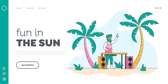Discotheque Fun, Youth Lifestyle, Entertainment and Fest Landing Page Template. Happy Dj Character in Sunglasses on Head Playing and Mixing Music at Beach Disco Party. Linear Vector Illustration