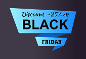 Discount -25% off Black Friday ad label on blue ribbon isolated on black, business promotional label of night sale event, shopping concept vector