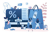 Discount and loyalty card, loyalty program and customer service. Rewards card points concept,big shopping list. Various women clients with signs and elements. Trendy style design. Vector illustration