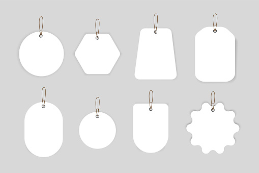 Discount and price tags on paper, blank