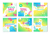 Discount and Sales Offers Colorful Flat Cards Set. Summer Total, Big, Special and Exclusive Sell-out up to 50, 70, 80 Percent. Shop, Tour Agency Ad Flyers. Vector Flat Illustration with Exotic Foliage