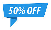 50% OFF Discount - Banner, Speech Bubble, Label, Ribbon Template. Vector Stock Illustration
