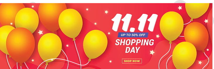 11.11 discount banner template poster with balloons and stars on a coral background with place for text