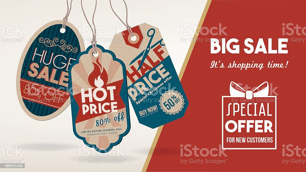 Discount banner with tags vector art illustration