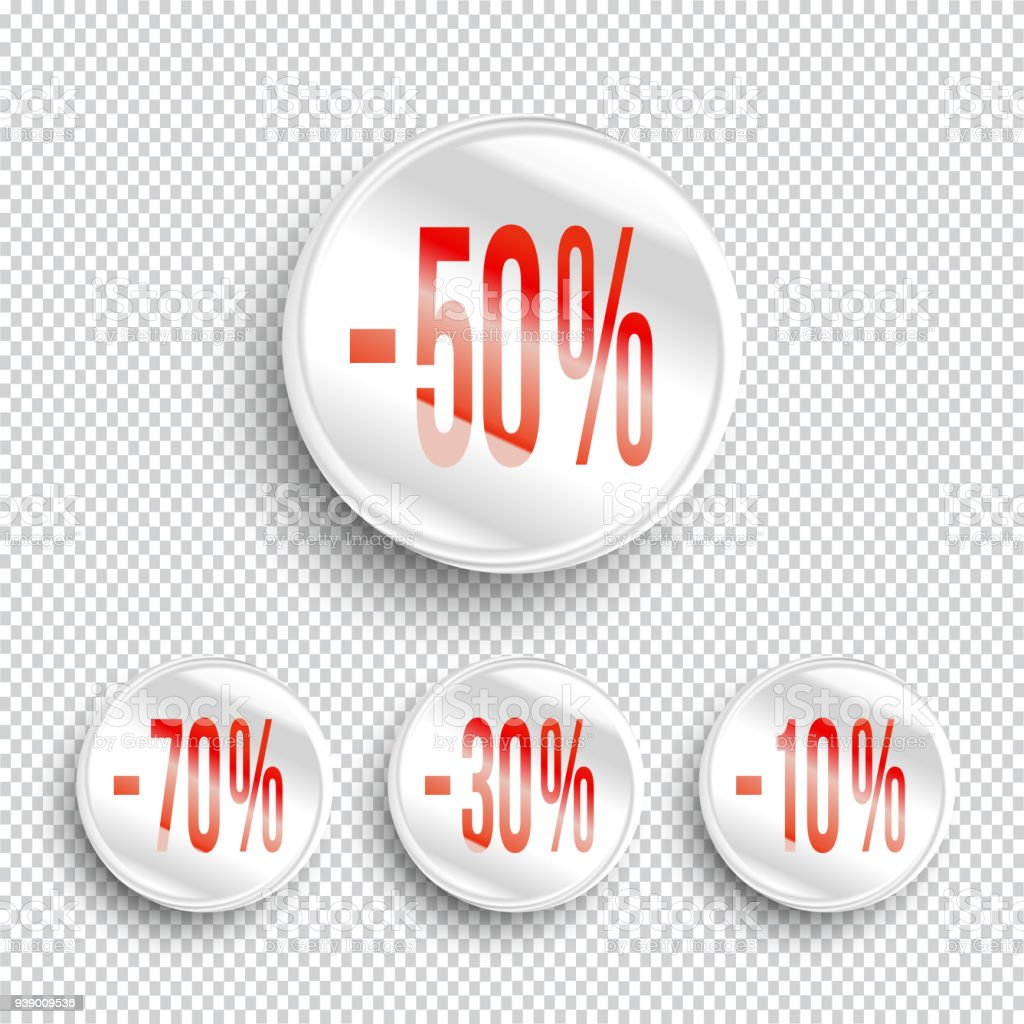 Discount Banners On Transparent Background 70 50 30 10 Off Icons Stock Illustration Download Image Now Istock