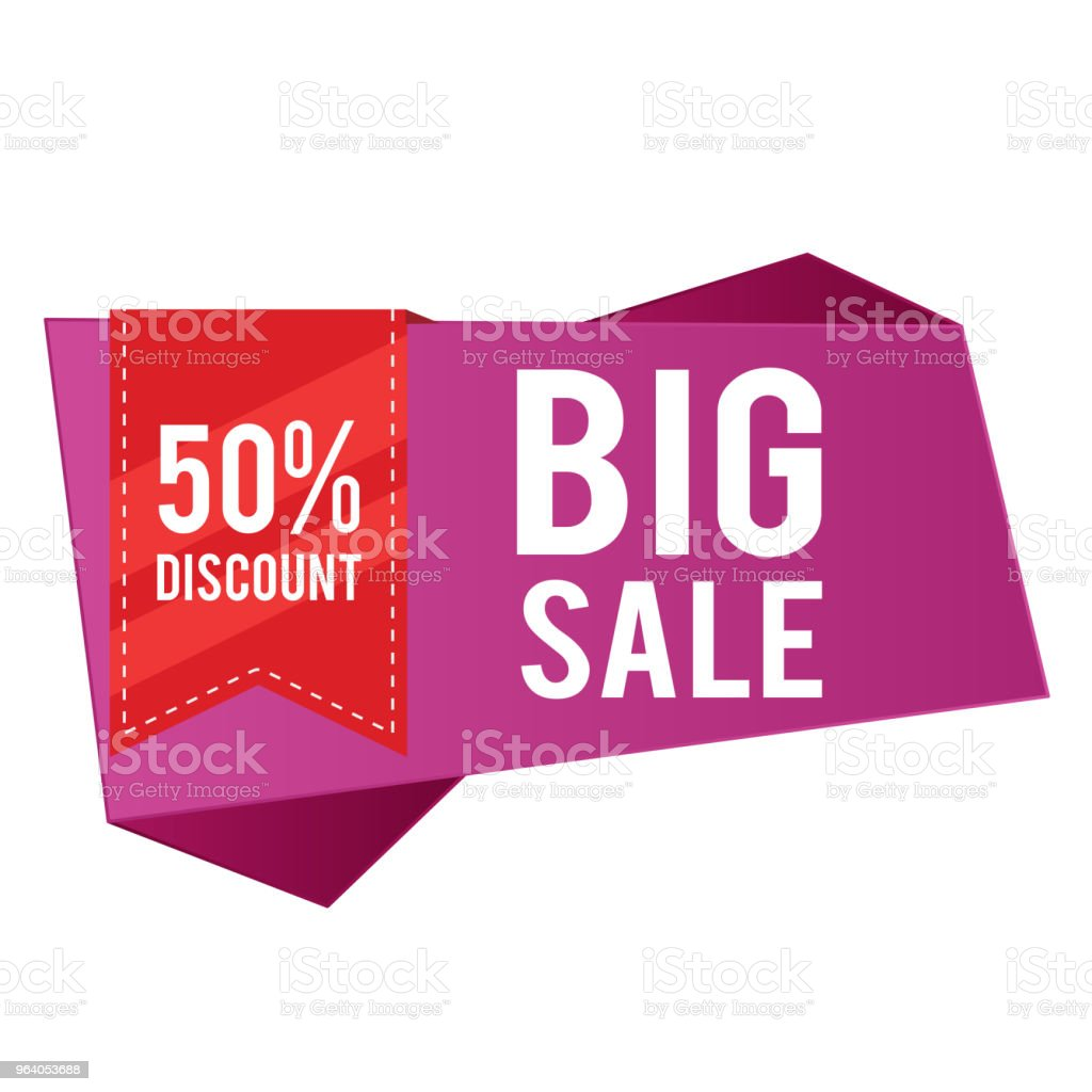 50% Discount Big Sale Purple Banner Red Ribbon Vector Image - Royalty-free Abstract stock vector