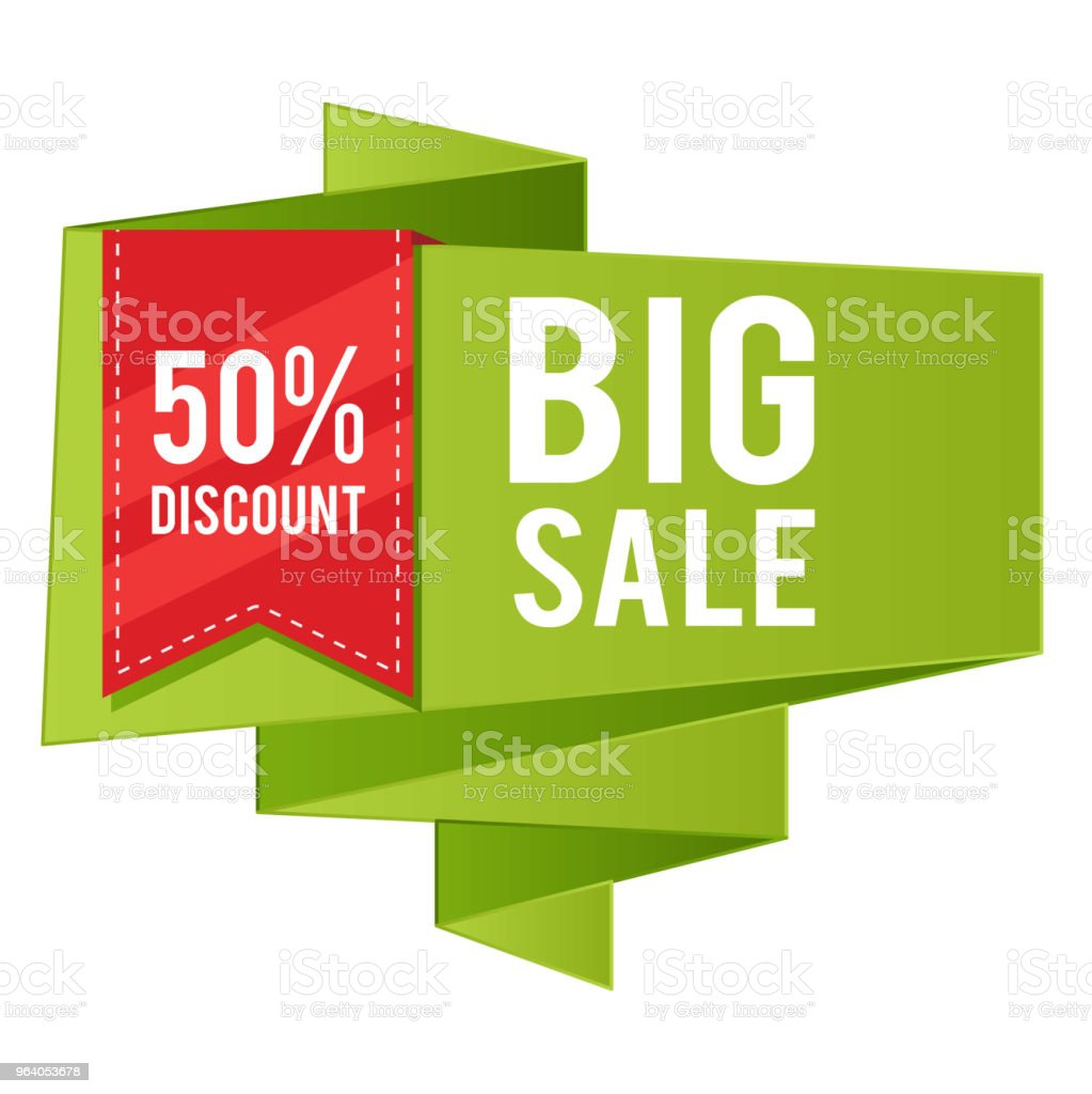 50% Discount Big Sale Red Ribbon Green Banner Vector Image - Royalty-free Advertisement stock vector