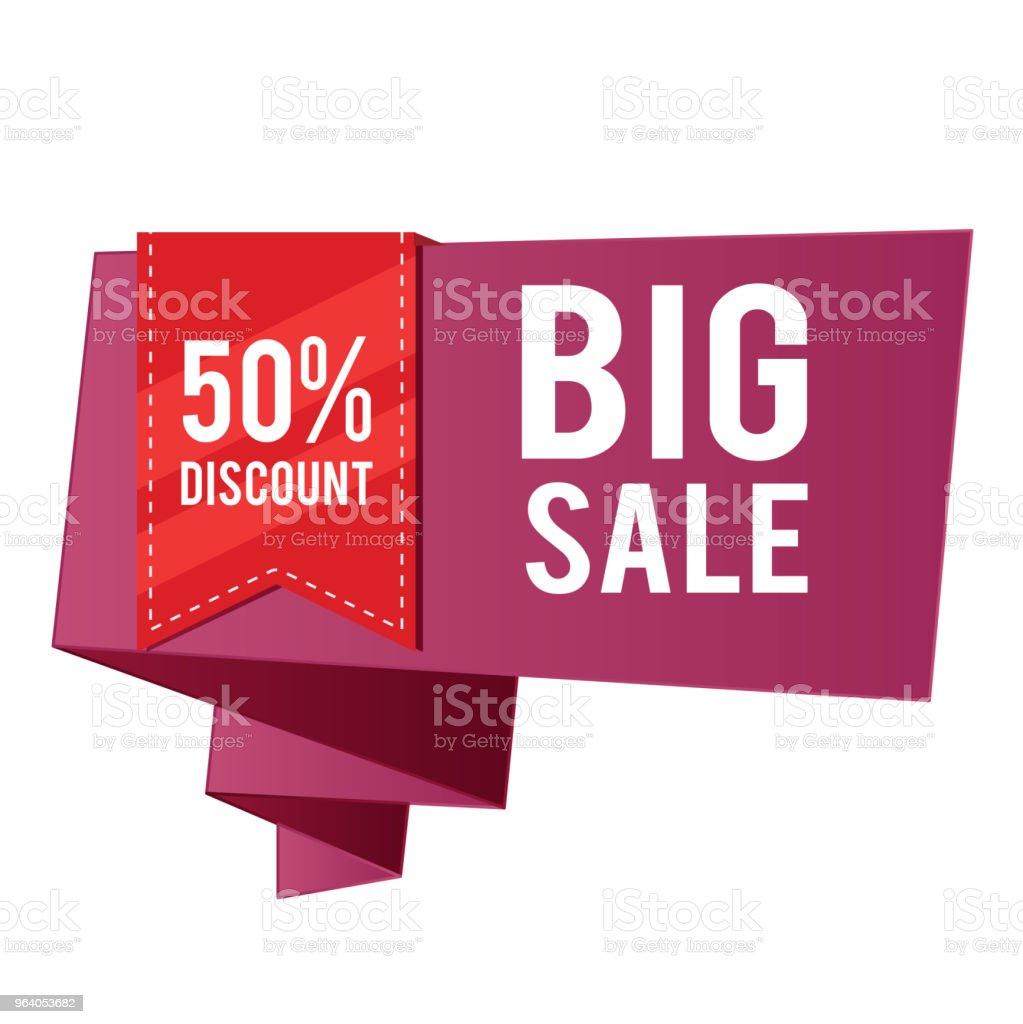 50% Discount Big Sale Red Ribbon Purple Banner Vector Image - Royalty-free Abstract stock vector