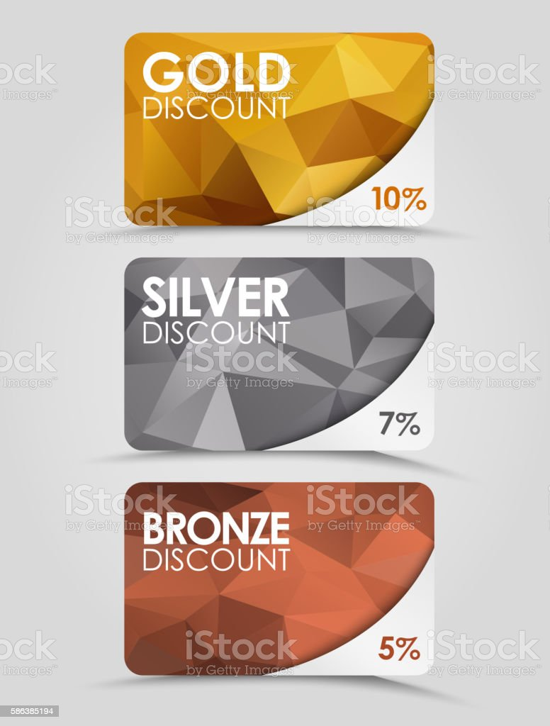 Discount cards polygonal background vector art illustration