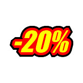 20% discount, colored inscription in yellow and red, isolated EPS 10 vector illustration