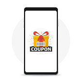 Discount Coupon Icon and prizes box on smartphone