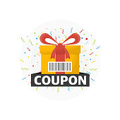 Discount Coupon Icon and prizes box on white background